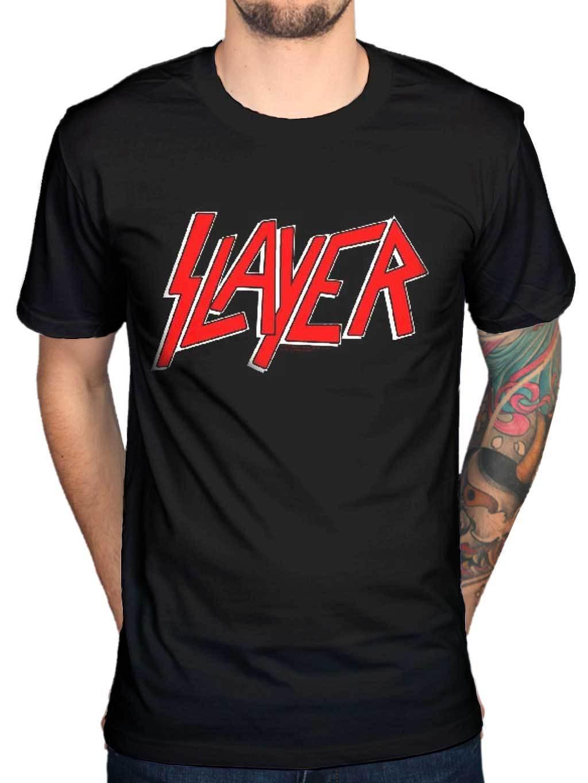 Design t shirt online usa - Vintage Tee Shirts Cute Slayer Classic Logo Men S New T Shirt Band Merch Metallica Exodus Usa Design T Shirt High Quality Cool