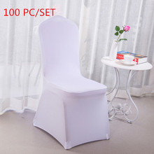 Fast Shipping 100PC Machine Washable Universal Multi colors White Elastic Chair Cover for Wedding Home Party Banquet Decoration 50pcs washable universal white elastic strong stretch spandex slipcovers chair cover for wedding party banquet decoration