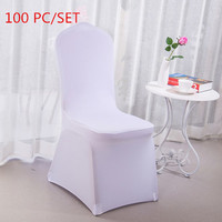 Fast Shipping 100PC Machine Washable Universal Multi colors White Elastic Chair Cover for Wedding Home Party Banquet Decoration