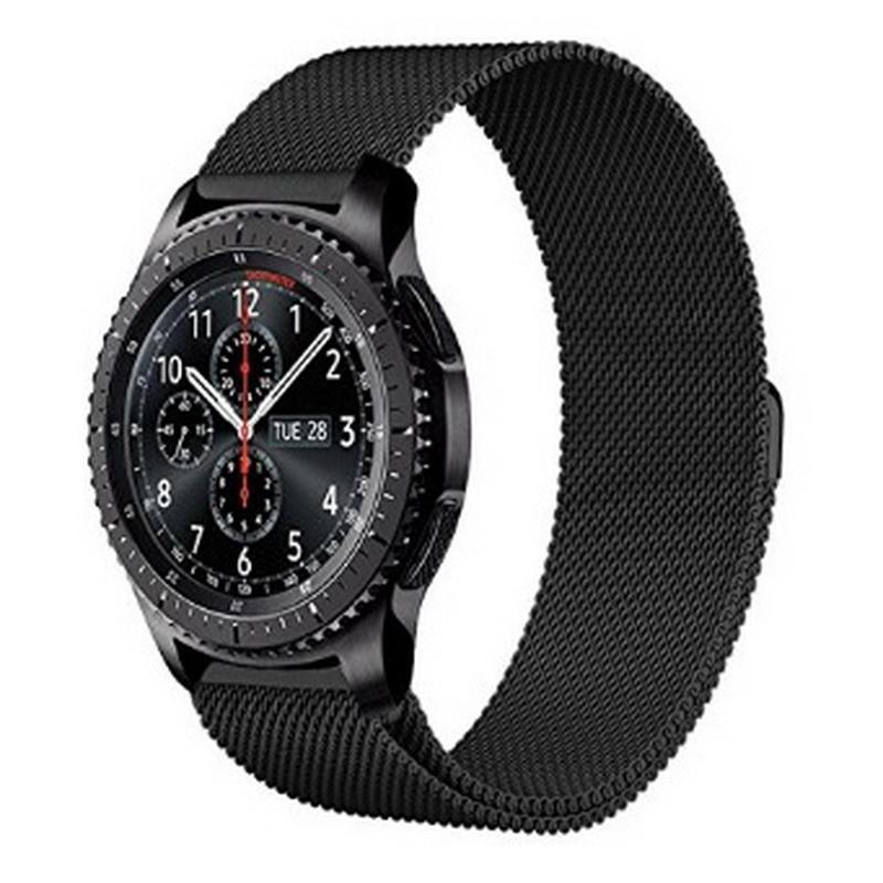 Prix pour 22mm En Acier Inoxydable Bracelet Bracelet Pour Samsung Gear S3 Frontière/Classique Milanese Boucle magnétique Avec Connecteur Broches Adaptateur