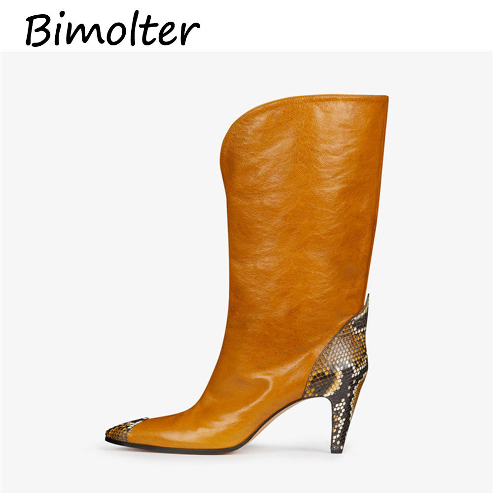 Bimolter  Brand Knee High Boots Women Heels Autumn Winter Long Party Prom Shoes Woman Pointed Toe Night Club Pumps NC077