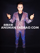 Plus measurement S-4XL Korean Version Men's Purple Suits Set Male Singer Sparkly Skinny Blazer Pants Costume Performance Party Suits