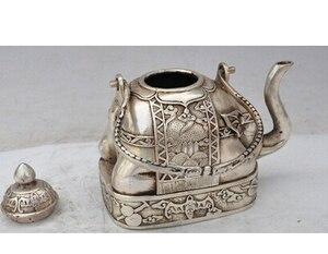 """Lojas de bronze Tibet Prata 5 """"Китайский elefante prata morcego amarello винный флакон ремесла Искусство на Хэллоуин украшение из латуни"""