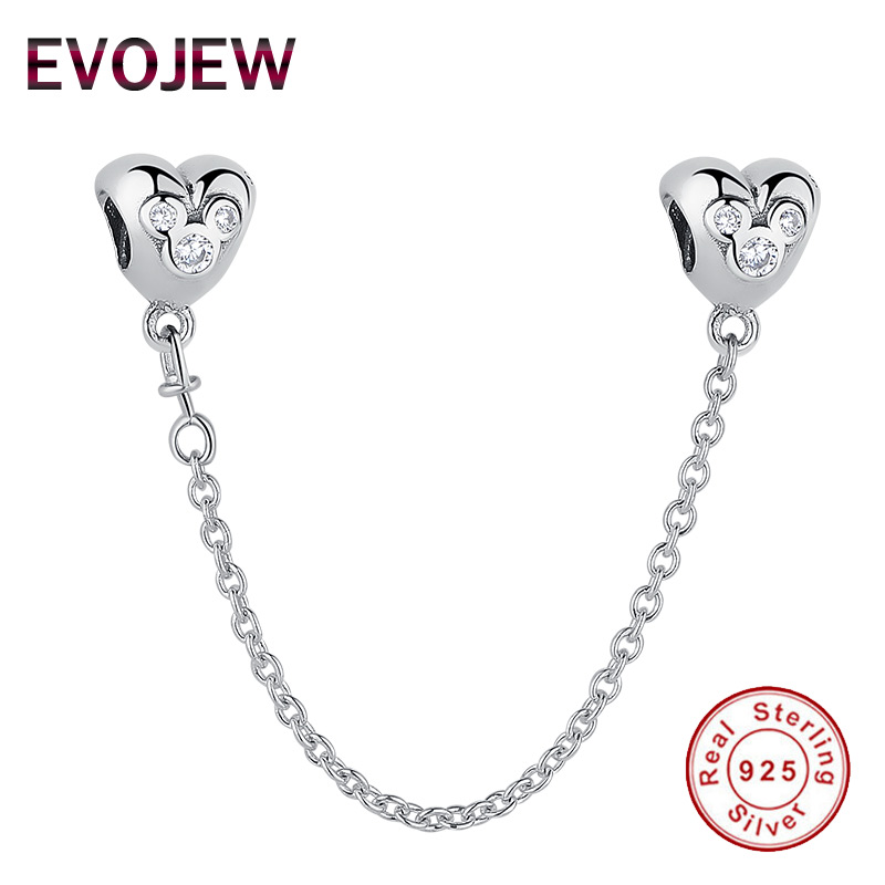 все цены на Genuine 925 Sterling Silver Cubic Zircon Mickey Heart Safety Chain Stopper Charms fit Pandora Bracelets for Women DIY Jewelry онлайн