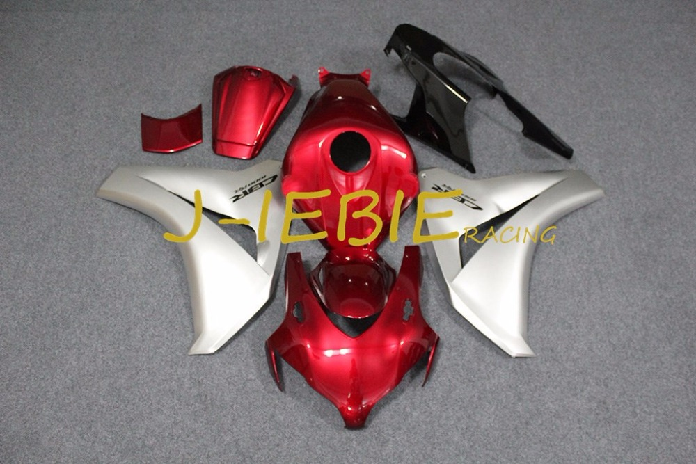 Rouge argent injection carénage body work cadre kit pour honda cbr1000rr cbr 1000 cbr1000 rr 2008 2009 2010 2011