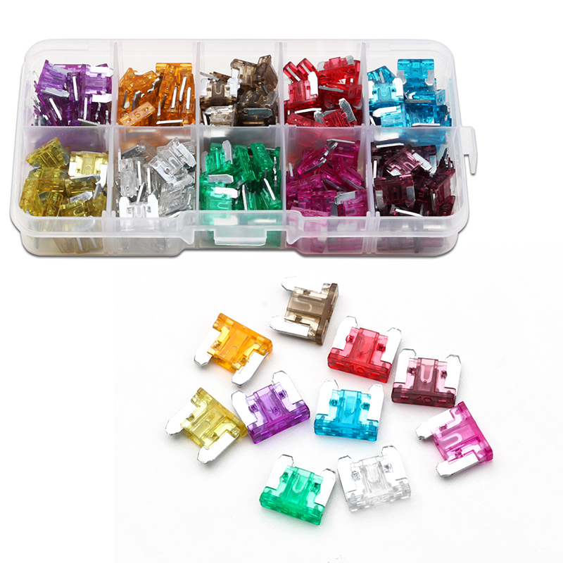 цена на Mini Car Blade Fuse 10 Value Assorted Car Fuse Auto Truck Small-scale Size Blade Fuse Mix Set 200PCS Blade Fuse Holder Kit