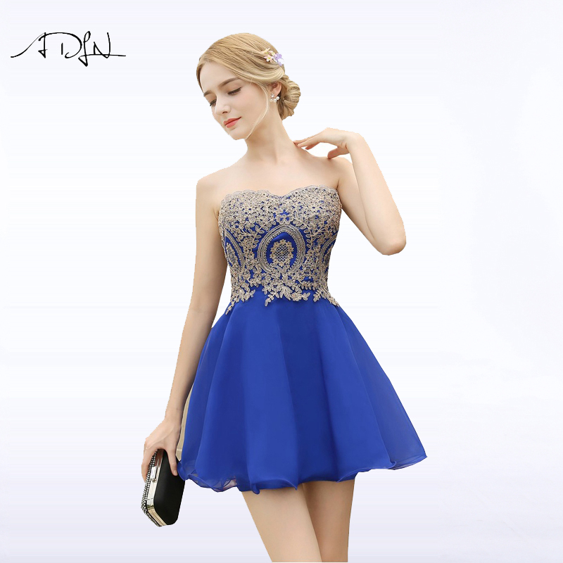 ADLN Cheap Short Cocktail Dress Sweetheart Sleeveless Chiffon A-line Royal Blue Mini Homecoming Dress Birthday Party Gown