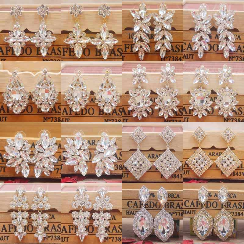 Zerong Multi rhinestone dangling earring gold crystal stone earring silver shiny women earring wedding /party deoration earring