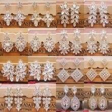 Zerong brinco ortopédico feminino, brincos pingentes de strass, pedra de cristal dourado, prateado brilhante, para casamento/festa