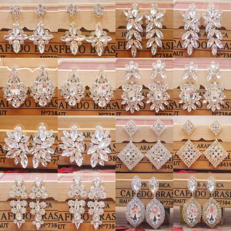 Zerong Multi Rhinestone Dangling Earring Gold Crystal Stone Earring Silver Shiny Women Earring Wedding /party Deoration Earring