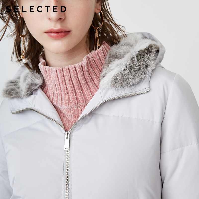 Отборный blackrock новый зимний женский пуховик на утином пуху с капюшоном из кроличьего меха чистый цвет длинный пуховик S | 418412551