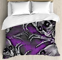 Duvet Cover Set Scary Creepy Spooky Happy Smiling Skeleton with Boned Hand Artwork Print, 4 Piece Bedding Set