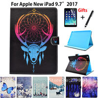 Case For Apple New iPad 9.7 2017 Case Smart Cover A1822 Funda Tablet Animal Pattern Silicone PU Leather Stand Shell+Stylus+film