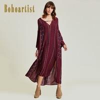 Bohoartist Women Dark Red Loose Dress 2017 Autumn Deep V Neck Floral Print Apparel Long Sleeve