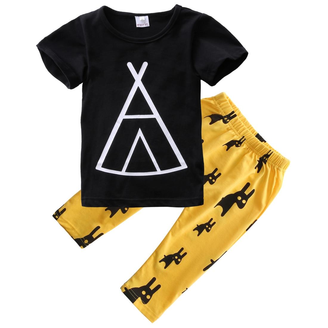 Black t shirt for babies - Fashion Pretty Casual Kids Baby Boy Short Sleeve Black T Shirt Tops Yellow Long Pants 2pcs Set 0 5years