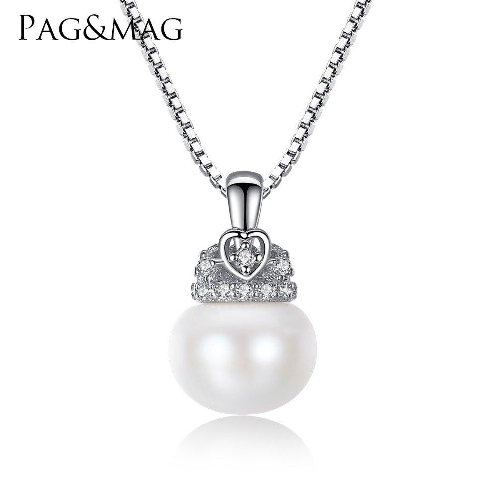 PAG & MAG Charm Shell Design Pärlsmycken Pärlhalsband Hänge 925 Sterling Silver Smycken Mode Halsband för kvinnor 2017