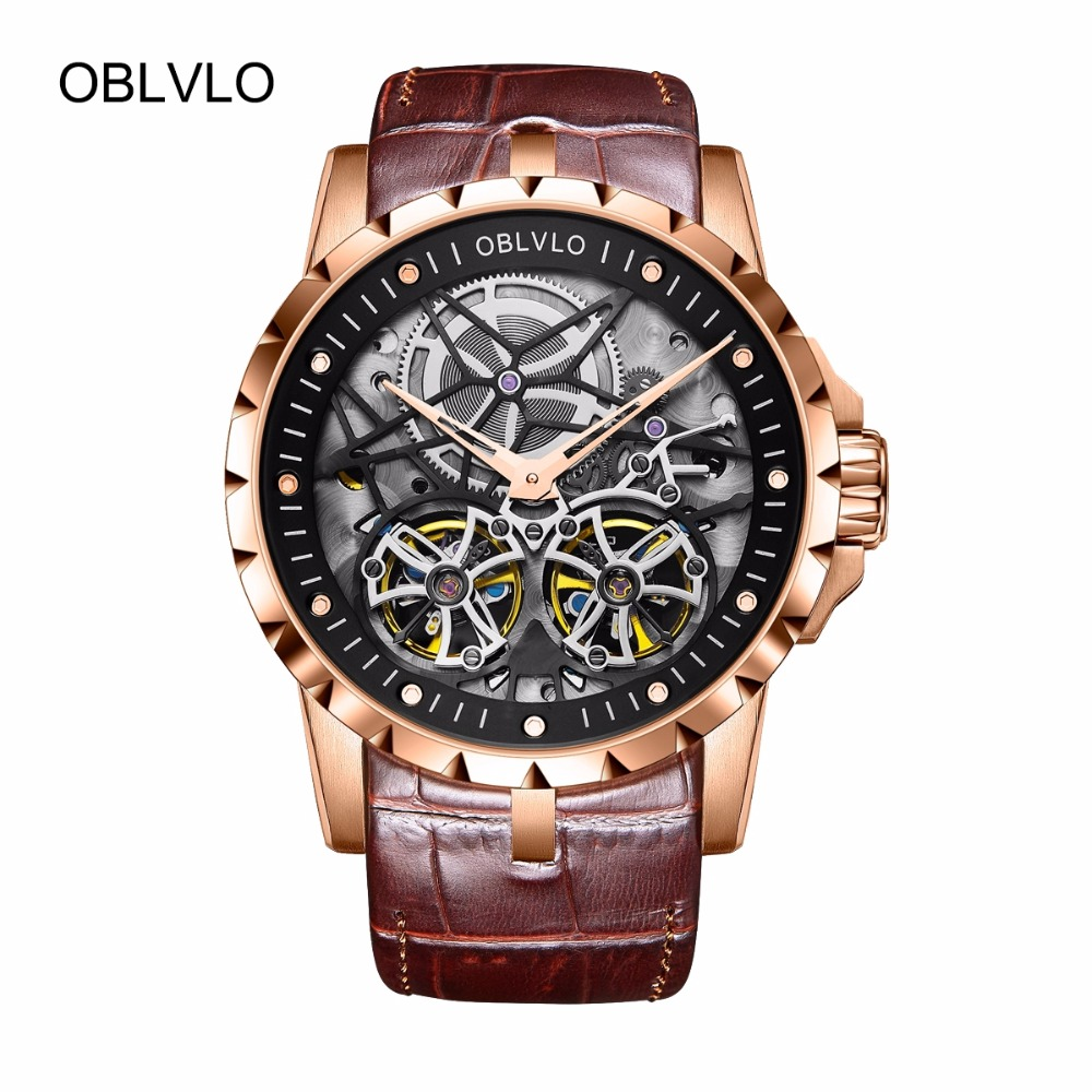 2018 OBLVLO Mens Military Watches Automatic Watches Waterproof Rose Gold Skeleton Watches Brown Leather Strap OBL3606