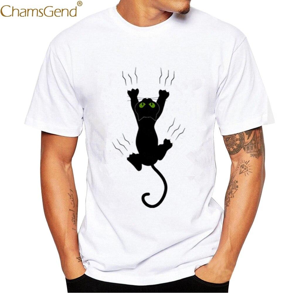 Chamsgend Drop Shipping Men's Casual Black Cat Cartoon Print Daily White Tees Man Shirt 80208