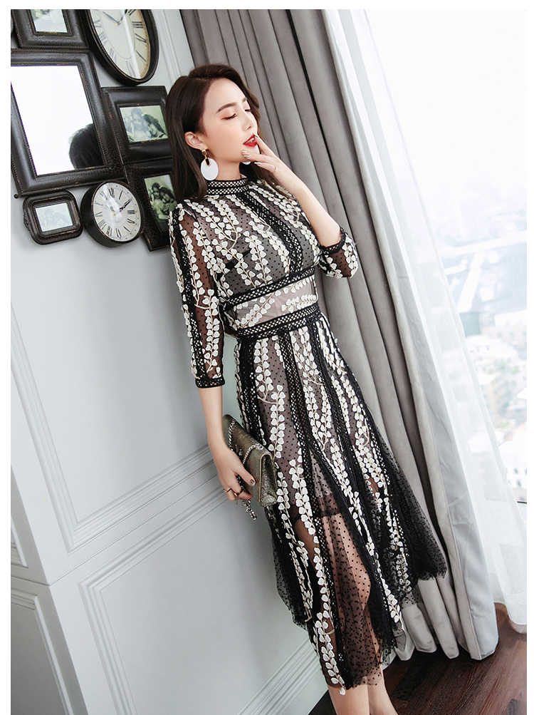 2019 מסלול אופנה חדשה אמצע עגל שמלת נשים של אלגנטי 3/4 שרוול פרח פרחוני רקמה שחור בציר שמלת Vestidos דה פסט