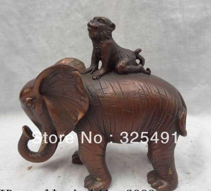 China Pure Bronze Animals Sculpture JiXiang Monkey Ride Elephant Statue  free shippingChina Pure Bronze Animals Sculpture JiXiang Monkey Ride Elephant Statue  free shipping