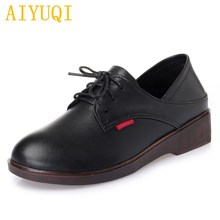AIYUQI Womens low heel shoes 2019 autumn new 100% natural genuine leather women shoes, lace casual ladies designer