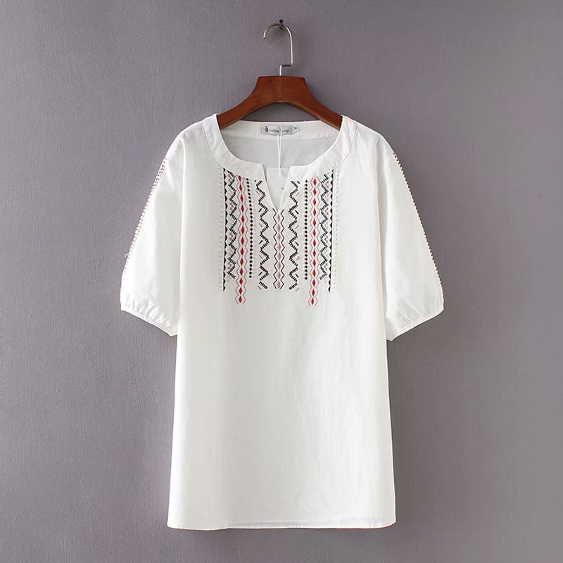 4694e22ea788 2018 New Summer Tops Big Size T Shirt Women Vintage Embroidery T Shirts  Female Clothing Casual