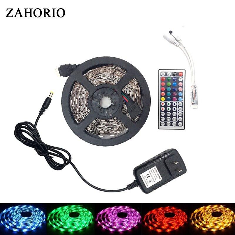 ZAHORIO DC 12V RGB LED Strip 5050 SMD 10M 5M 300LED 150LED LED Light Neon Tape flexible Led strip Wifi/Music/24/44key Controller