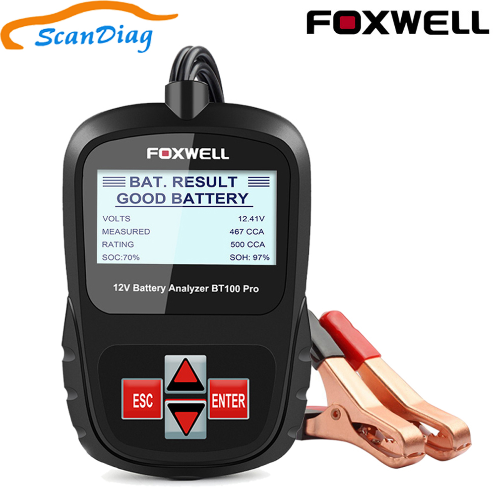 FOXWELL BT100 Pro 12V Car Battery Tester for Lead Acid Flooded AGM GEL 12 Volt Automotive Digital Battery Analyzer 100-1100CCA