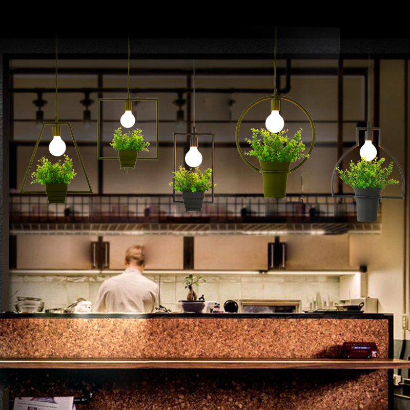 Plant chandelier Nordic creative personality bar Florist industrial wind restaurant window balcony Ppendant lights Iron simple retro industrial wind balcony restaurant bar counter metal net creative chandelier free shipping