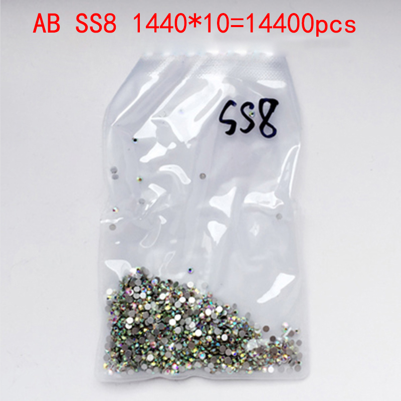Wholesale Rhinestones New AB ss8 14400 pcs 2.4mm Crystal Color Non Hotfix Rhinestones For Nails Flatback Nail Art Decorations new arrive resin rhinestones for nail art diy decorations design 2 6mm dark rose ab color 14 facets glitter flatback non hotfix