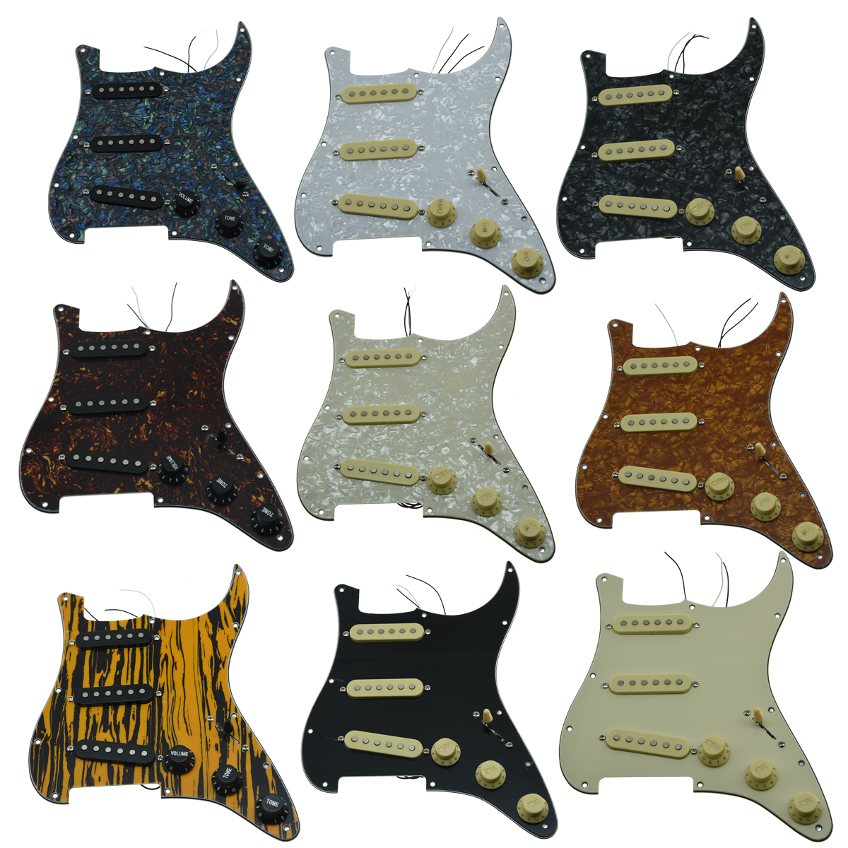 KAISH Various Loaded Strat SSS Pickguard Prewired ST Strat Pickguard with Pickups Fits for Fender musiclily 3ply pvc outline pickguard for fenderstrat st guitar custom