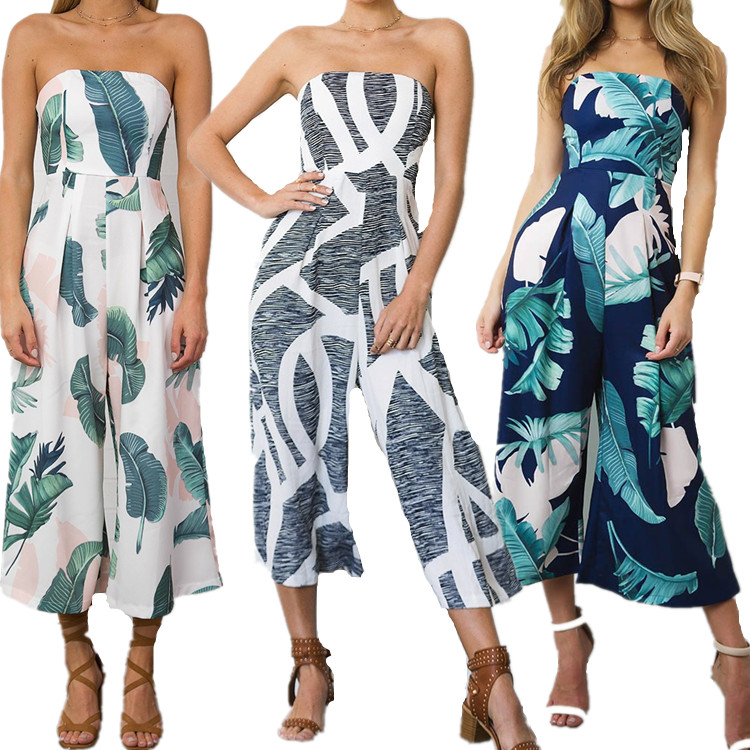 <font><b>Women</b></font> Fashion Off Shoulder Jumpsuit Tropical Leaf Printing Wide-Leg <font><b>Pants</b></font> Long Romper Ladies <font><b>Sexy</b></font> Summer Trousers Overall <font><b>2018</b></font> image