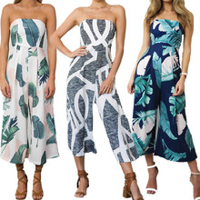 Women Fashion Off Shoulder Jumpsuit Tropical Leaf Printing Wide-Leg Pants Long Romper Ladies Sexy Summer Trousers Overall 2018