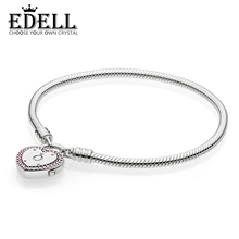 EDELL Infinity Authentic 100% 925 Sterling Silver Pando Bracelet Love Valentine's Day Bracelet Women Romantic Gift Charm Jewelry