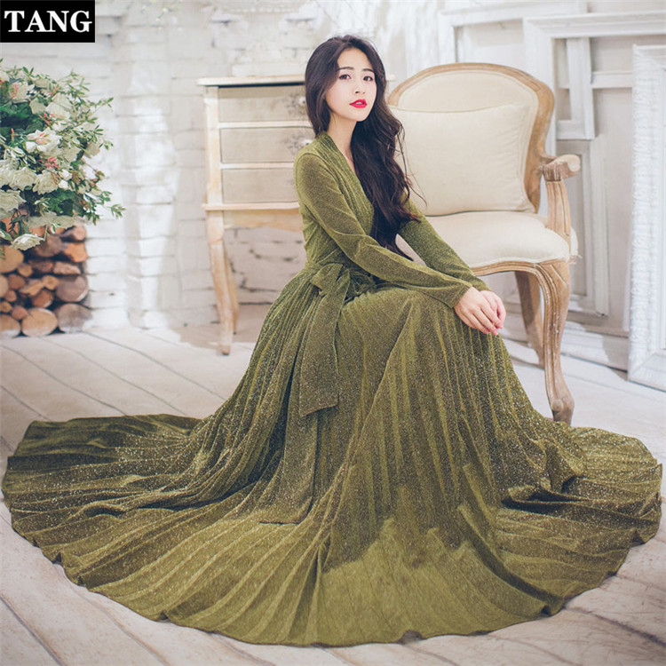 Tang 2019 vestidos Long Sleeves Dress Gold glitter silk maxi dress V Neck Belt Lace Up Plus Size Dress for women
