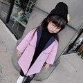 2016 otoño e invierno nueva Corea niñas de lana capa larga de lana envío gratis