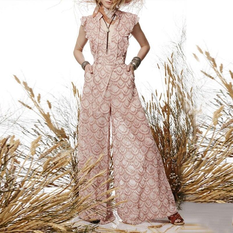 EXCELLENT QUALITY Newest Stylish Designer   Jumpsuit   Women's Hollow Out Lace Patchwork Wide Leg   Jumpsuit