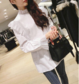 Babados de renda blusas camisa blusa cor branca de manga longa mulheres encabeça 2017 algodão 100% tops plus size de grandes dimensões de alta qualidade