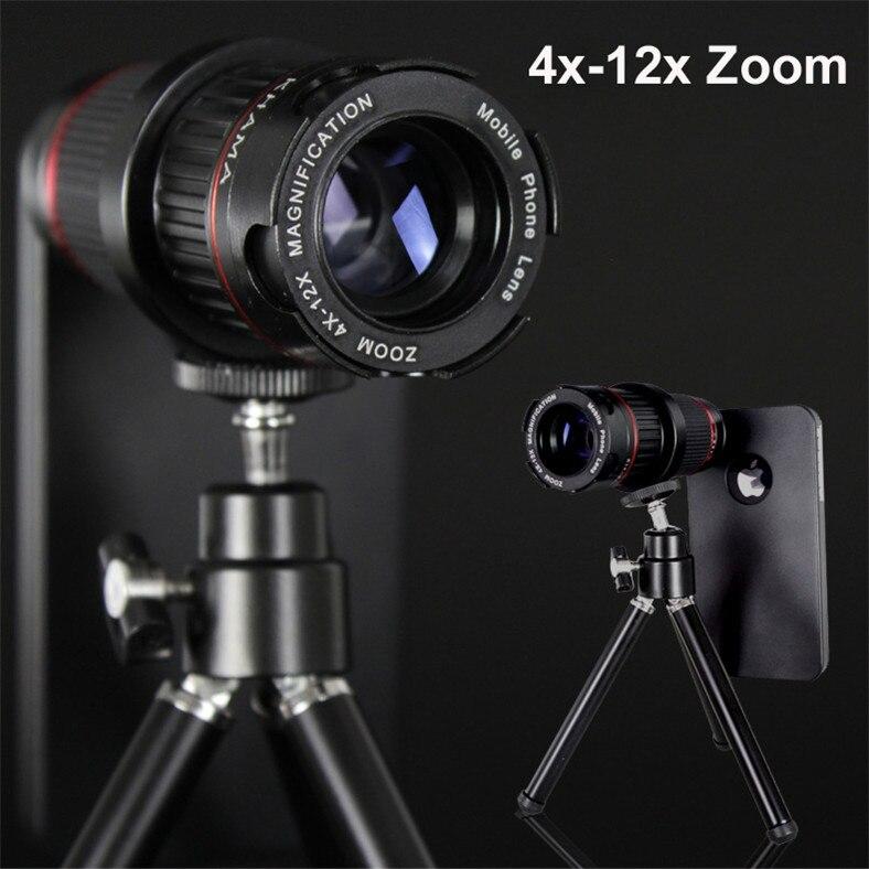 Professionnel DSLR 4-12X Zoom télescope Lente Photo caméra de mise au point manuelle téléobjectif téléphone objectif + étui pour iphone coque rigide