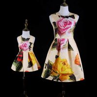 mom girl Dresses baby Girls Flower formal customize dress Mother Daughter Clothes Family Matching Clothing Kids fashion dresses
