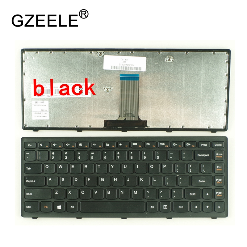 GZEELE New US Laptop Keyboard For Lenovo G400S G405S S410p G400AS G410s Z410 G405s FLEX14A FLEX14g Flex 14D Black Silver Frame