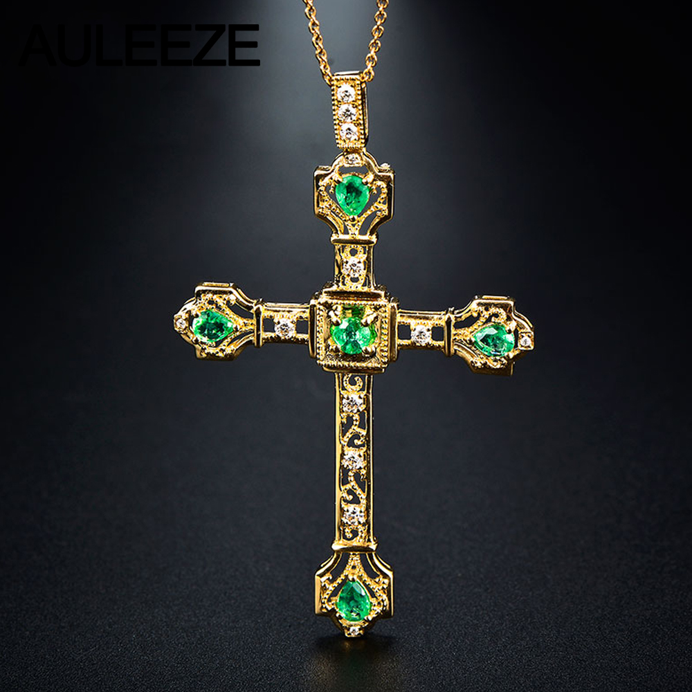 Vintage cross natural emerald diamond pendant 18k yellow gold vintage cross natural emerald diamond pendant 18k yellow gold handmade cross real diamond pendant necklace diamond fine jewelry in pendants from jewelry aloadofball Image collections