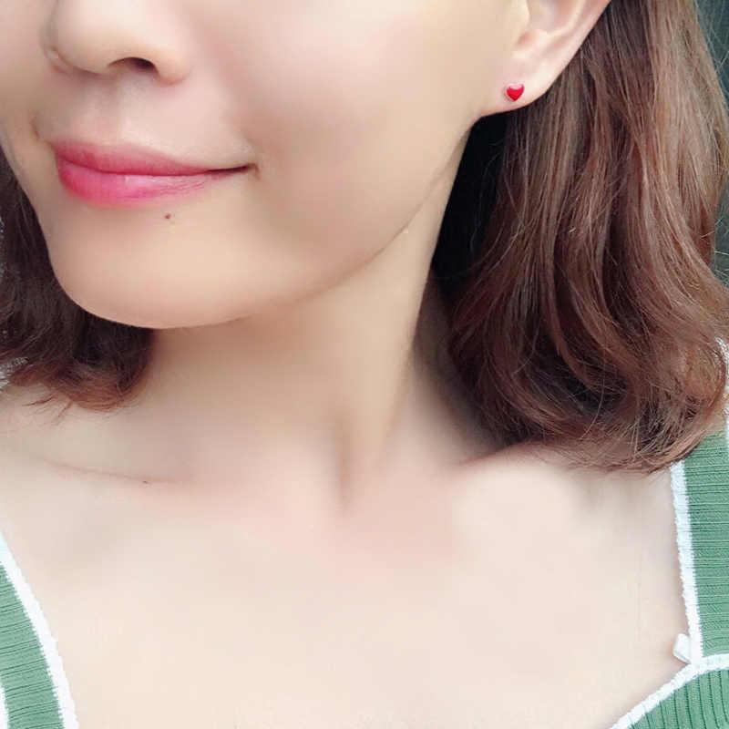 קוריאני אופנה 925 סטרלינג כסף אדום אהבת לב עגילים לנשים בנות רומנטי עגילי מסיבת תכשיטי Pendientes Brincos