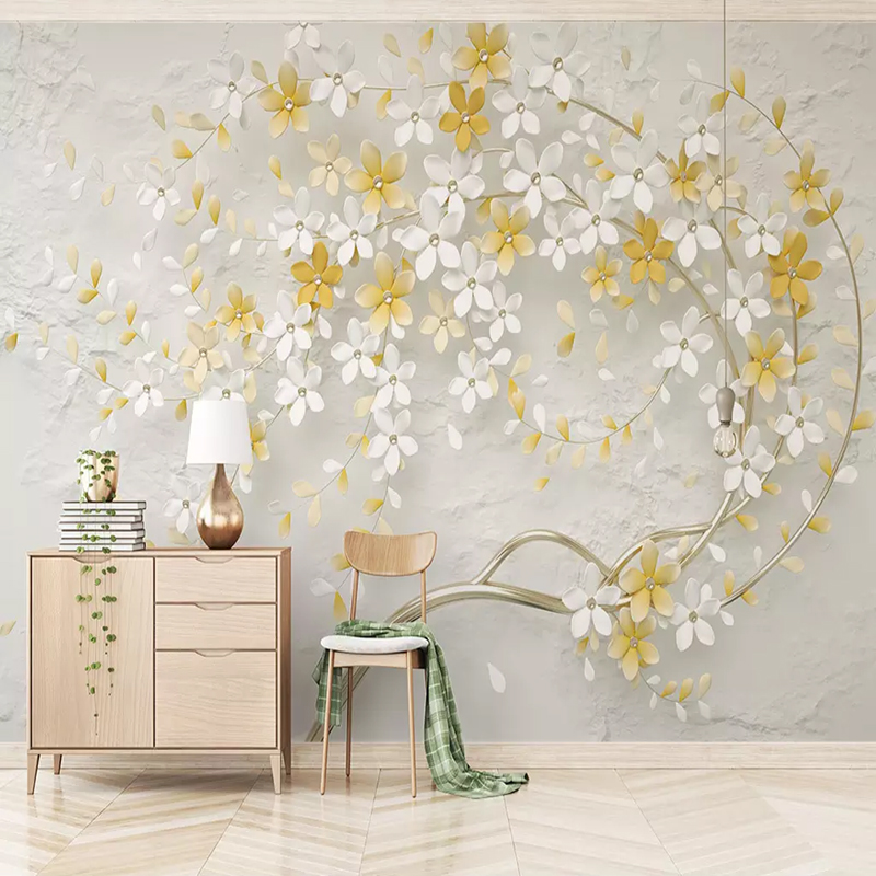 Small Fresh Lemon Yellow 3D Embossed Flowers Wallpapers 3D Large Mural Living Room Sofa Home Decoration Wall Covering Wall Paper