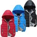 Niños Cálido Con Capucha Chaleco Niños Chaleco de Plumón de Pato Abrigos Otoño Niños Chalecos Niños Niña Invierno Outwear la Chaqueta de La Manera 4-12 Año