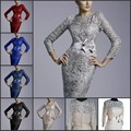 6 цвет полный рукав мать невесты с кружевом платья новое поступление оболочка колен в наличии платье кап-рукава сатинировки