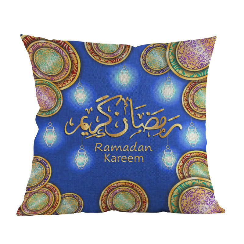 Ramadan Decorations For Home Islamic Eid Mubarak Decor Sofa Throw Pillow Cases Muslim Mosque Decorative Cotton Cushion Cover