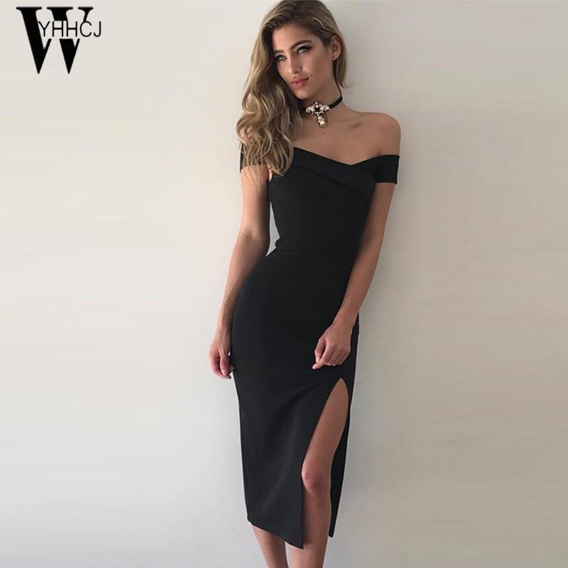 WYHHCJ 2017 seksi rame poletje obleko moda Side Slit stranka ženske - Ženska oblačila