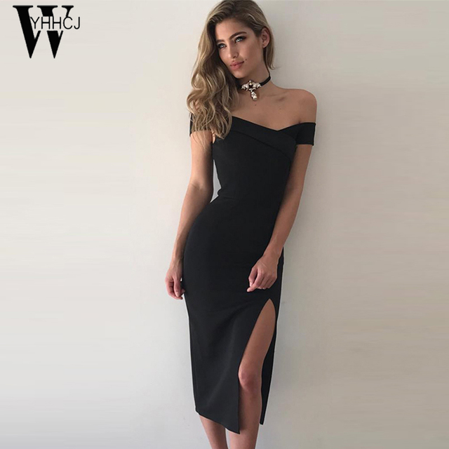 WYHHCJ 2017 sexy off shoulder summer dress fashion Side Slit party women dresses short sleeve bodycon black dress Kim kardashian