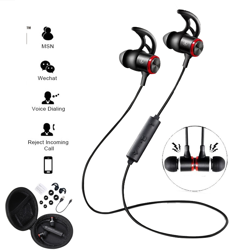 Magnetic Attraction Bluetooth Earphone Waterproof Sport Headphone 4.2 with Charging Cable Young Earphones Build-in Mic Headphone цена 2017